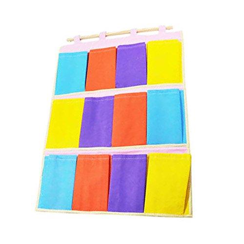 Milopon Wand Hängeorganizer Wandtaschen Baumwolle Aufbewahrungstasche hängenden Hängeaufbewahrung Beutel Tür zurück Mehrschicht-Aufbewahrungstasche bunt (Standard-bett In Einem Beutel)