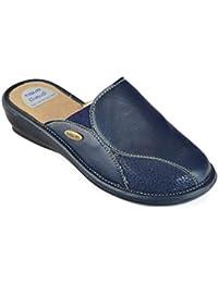 tiglio Pantofole Ciabatte Invernali da Donna Art. 1644 MF Ecopelle Blu  Fondo Memory 2cb33399ad0
