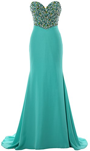 MACloth Women Strapless Long Prom Dress Crystals Formal Party Evening Gown Turquoise