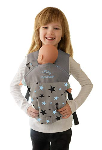 manduca Puppentrage / Doll Carrier > < Puppen-Babytrage für das Tragen von Babypuppe & Stofftier vorne und auf dem Rücken, Puppen-Zubehör für Kleinkinder ab 18 Monate (Limited Edition, Starlets Blue)