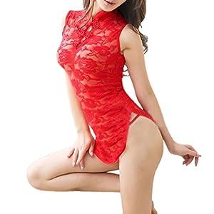 Hansee Dessous Sexy Frauen Spitze Tops-G String Set Cheongsam Nachtwäsche Semitransparente Nachtwäsche Unterwäsche