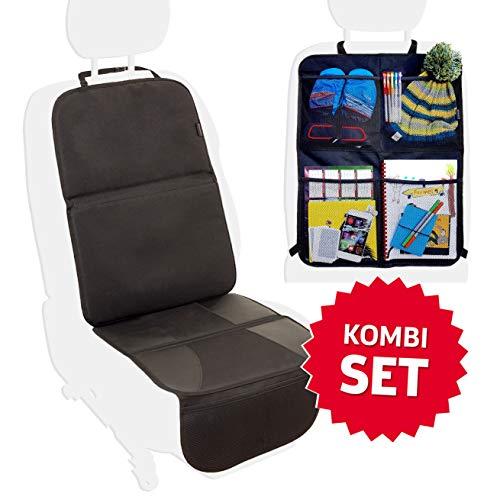 Systemoto Sitzschoner Bundle, Kindersitzunterlage + Rücksitz Organizer Auto - Rückenlehnentasche Kinder und Unterlage Kindersitz