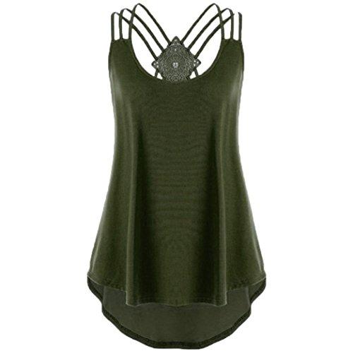 OverDose Damen Bandagen ärmellose Weste High Low Tank Top Bluse T Shirt Hinweise Strappy Tops (WGrün1,L)