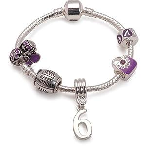 Bling Rocks Kinder Lila Happy 6th Birthday Silber Pandora Style Charm Bead Armband. Mädchen Kinder Geschenk (weitere Größen erhältlich)