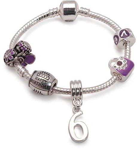 Liberty Charms Silber Vergoldet Lila Glücklich 6. Geburtstag Charme Armband mit Charms, Perlen, Armband & Geschenk-Box (andere Größen erhältlich) (Happy Birthday Charme Pandora)