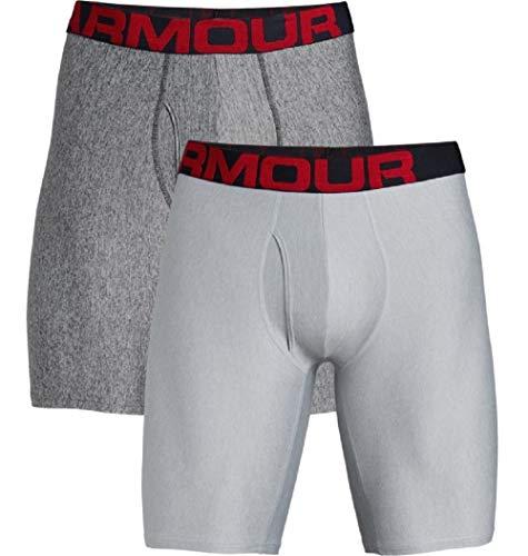 Under Armour Herren schnelltrocknende Boxershorts, komfortable Unterwäsche mit enganliegendem Schnitt Tech 9in 2 Pack, Grau, MD -