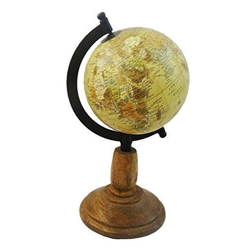 """decorativo mondo globo 5 """"forma rotonda sfera di plastica 10.5"""" materiale di legno alto in piedi tavolo ufficio topper conoscenza generale arredamento casa globo beige"""