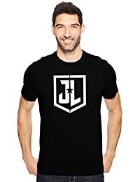 Justice League Logo American Superhero Tshirt Fan Art Men's Cotton Round Neck Tshirt In Black