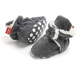 Botas de Niño Calcetín Invierno Soft Sole Crib Raya de Caliente Boots de Algodón para Bebés (0-6 Meses, Gris Marino, Tamaño de Etiqueta 11)
