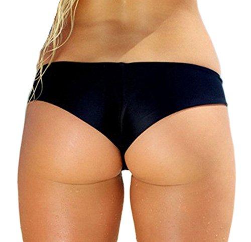 Damen Brazilian Slip Bikini Unterwäsche Thong String Schwarz