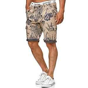 Indicode Herren Albert Cargo Shorts Hawaii mit 6 Taschen aus 100% Baumwolle | Kurze Hose Regular Fit Bermuda Cargoshorts Herrenshorts Short Men Pants Cargohose kurz für Männer