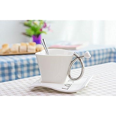 YX.LLA Tazas de cerámica Taza de Café Taza personalizada con los álbumes con la cuchara de la Taza de Café Taza parejas tazón de agua,blanco con cuchara de acero