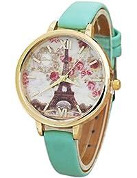 c839081cdfb7 HARRYSTORE Moda de la Torre Eiffel Mujeres Cuero banda analógica movimiento  de cuarzo reloj de pulsera