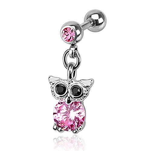 Autiga® Ohr Piercing Eulen Stecker Tragus Helix Cartilage Anhänger Eule Owl Barbell silber-rosa