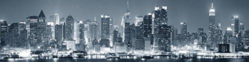 Wallario Küchenrückwand Hartschaumplatte, Größe 200 x 50 cm, Motiv: New York Skyline - Schwarz Weiß Blau