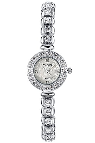 Ostan donna gioielli moda forma rotondo quadrante con cubic zirconia braccialetto orologi da polso