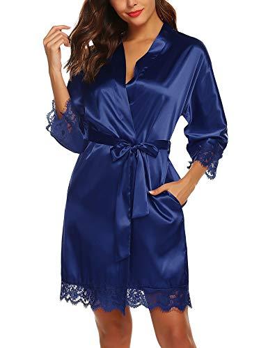 BESDEL Damen Satin Kimono Hochzeit Robe Bademäntel für Weihnachten Marineblau XL