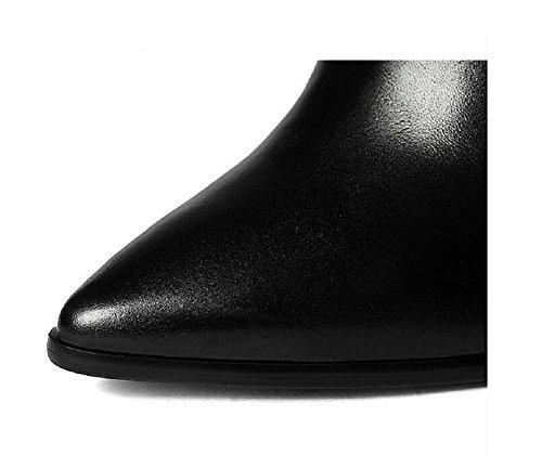 YYH Chunky talons fait nu automne/hiver bottes cuir véritable cheville bottes Chaussures femmes Black