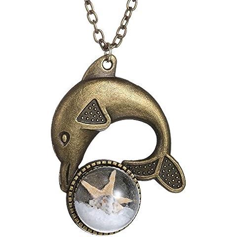 rinhoo fai da te stelle marine e Conch vetro ciondolo collana, delfino, placcato bronzo - Placcato Ciondolo Delfino