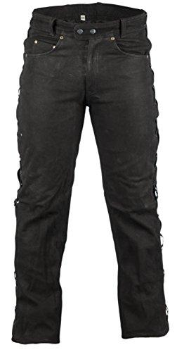 Biker Lederhose in Nubuk Leder schwarz, Lederhose seitlich geschnürt, rocker lederhose, Bikerjeans, Lederjeans (30) (Rocker Hose Leder)