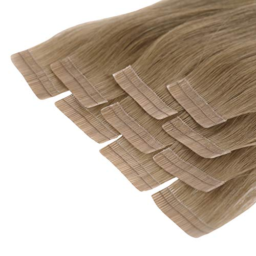 Tape In Extensions 50 cm Virgin Echthaar 10er Set Nussbraun