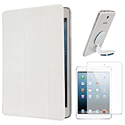 DMG Smart PU Leather Ultra Thin Trifold Book Cover Case For Apple iPad Mini / Mini 2 / Mini 3 (White) + Universal Octopus Swivel Stand Mount + Matte Screen