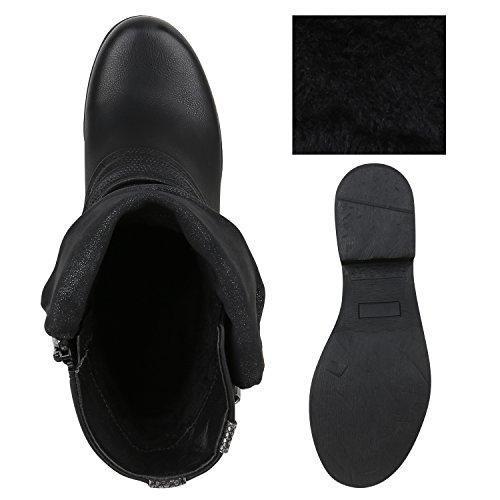 ... Stiefelparadies Stylische Damen Stiefeletten Stiefel Biker Boots  Metallic Nieten Flandell Schwarz Schnalle ab99e88dc8