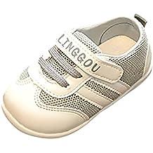 Zapatos Bebé prewalker ❤️ Amlaiworld Niños Infantil Niño Niña Carta Imprimir Malla Running Zapatos Calzado deportivo casual Zapatilla de deporte Primeros pasos (gris, Tamaño:12-18Mes)