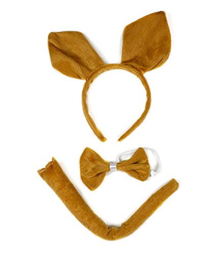 Brown Kangaroo Headband Bowtie Tail 3pc Costume for Children Halloween or Party ()