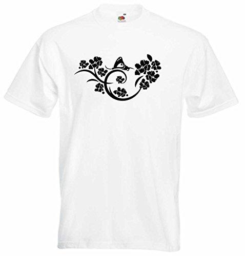 T-Shirt D148 T-Shirt Herren schwarz mit farbigem Brustaufdruck - Tribal Schmetterling auf Blumenstrauß Schwarz