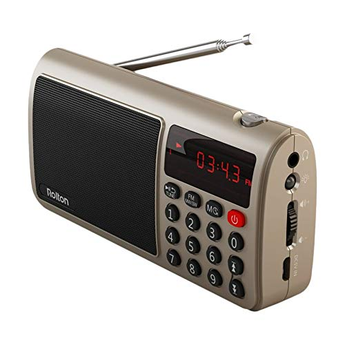 VCB Rolton T50 Portable World Band UKW/MW/SW-Stereo-Radio-Lautsprecher Mp3 Music Player - Golden (Portable Radio Band World)