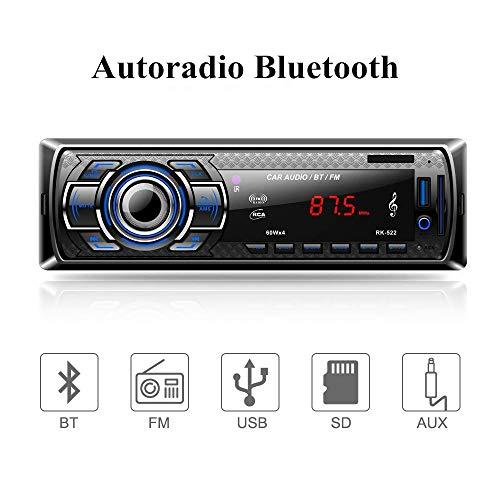 Aigoss Autoradio Bluetooth, 60W x 4 Auto Stereo Audio Ricevitore FM Microfono Incorporato, Universal Lettore MP3/ USB/SD/AUX, Telecomando
