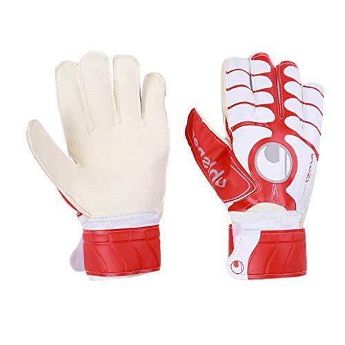 Wovemster Torwarthandschuhe mit Fingerschutz für Erwachsene, Profis, Jugend- und Erwachsenen-Fußballhandschuhe, 1 Paar (Rot)