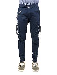 Zacharias Men's Cotton Relaxed Fit Zipper DORI Cargo Jogger Pants