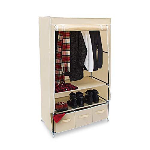Relaxdays modello valentin l armadio pieghevole xl, tessuto, beige