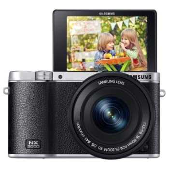 Samsung NX3000 Smart Systemkamera (20,3 Megapixel, 7,5 cm (3 Zoll) Display, Full HD Video, WIFi, NFC, Adobe Photoshop Lightroom 5, inkl. 16-50 mm OIS i-Function Power-Zoom-Objektiv) schwarz