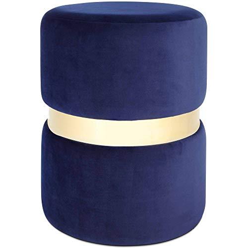 Beautify Runder Hocker – Weicher Samt - Marineblau mit Messing Details – Sitzhocker/ Fußhocker/ Polsterhocker