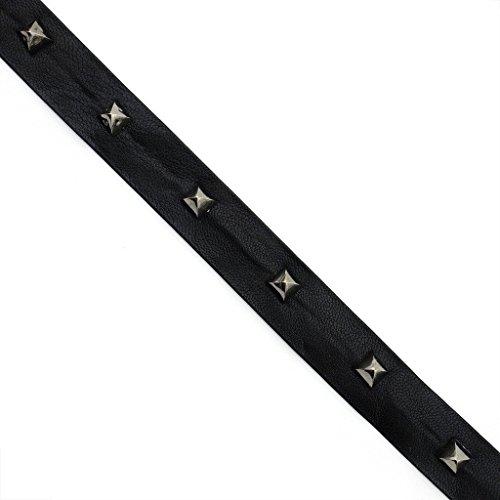 HAND Schwarz Leatherette Strap mit Dark Copper Farbige Studs Trim - 2 Meter - Stud-trim Leder