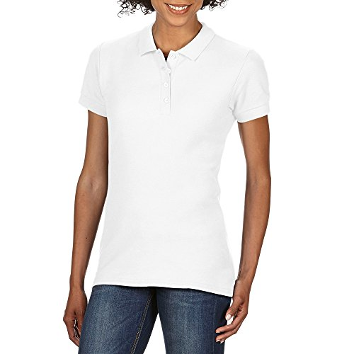 Gildan Softstyle Damen Kurzarm Doppel Pique Polo Shirt (M) (Weiß) (Weiße-kragen-polo-t-shirt)