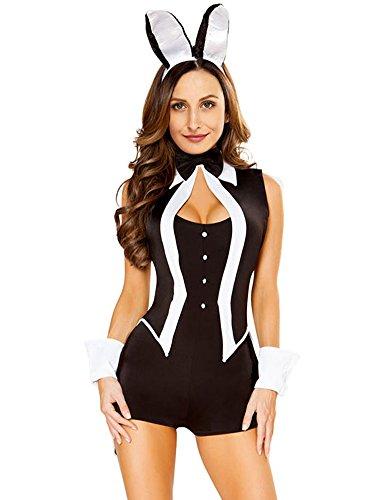 Romacci Damen 5 Stück Tuxedo Bunny Kostüm Tux und Halloween Cosplay Uniform Schwarz