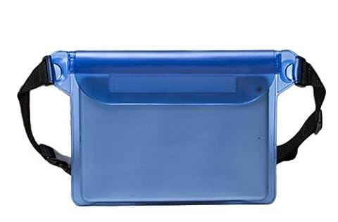 Laat PVC étanche Tour de taille Pouch universel Tote Poche Sac de plongée Dry Sac à dos téléphone Sac de rangement de sangle de taille Triple Sealed Drift Eau Sacs pour nager/bateau/kayak/Rafting/ski/voyage, bleu