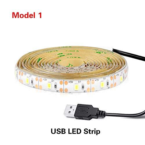 Wasserdichte 5V PIR Bewegungsmelder Nachtlicht 2835 SMD LED Streifen Unter Bett Seite Schrank Küche Kleiderschrank Treppen Beleuchtung Band (Color : 1M White-USB Port No Sensor) -
