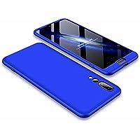 Funda Huawei P20 Pro Case Lanpangzi 3 en 1 Combinación [Protector de Pantalla de Vidrio Templado] Silicona TPU 360 Grados de Protección Anti-Golpes Protectora Cover - Azul