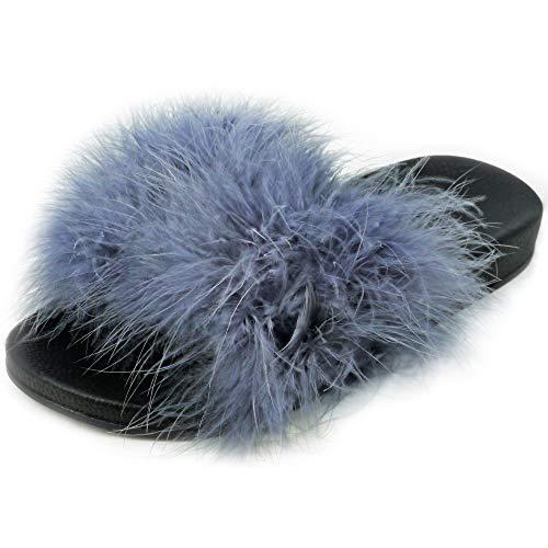 Bemeesh sandali ciabatte lunghe da donna pelliccia sintetica soffici piuma