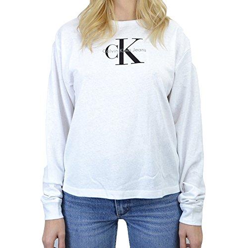 Calvin Klein Jeans Damen Langarmshirt T-Core Loose Fit Lwk L/S True Icon, Weiß (Bright White 112), Small (Calvin Klein-loose-fit-jeans)