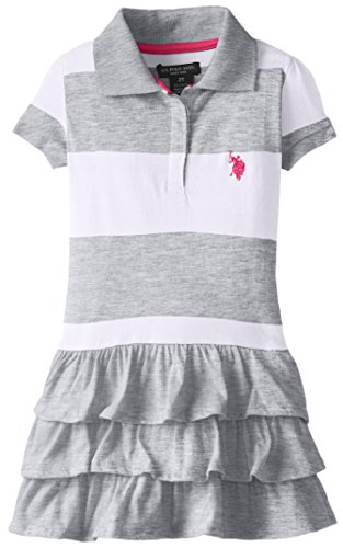 U.S. POLO ASSN. Little Girls' Ruffled Stripe Polo Dress, Light Heather Gray, 4 (Stripe Polo Girls)