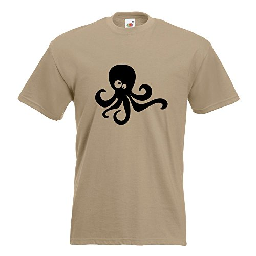 KIWISTAR - Oktopus Comic T-Shirt in 15 verschiedenen Farben - Herren Funshirt bedruckt Design Sprüche Spruch Motive Oberteil Baumwolle Print Größe S M L XL XXL Khaki