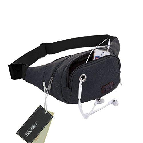 FakeFace Neu Canvas Multifunktion Brusttasche Hüfttasche Umhängetasche Crossbody Bag Tasche Bauchtasche Gürteltasche für Reisen Joggen Wandern Schwarz 2