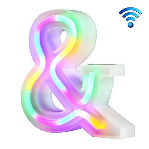 Lettre n/éon color/é sallume 26 lettres lumineuses pour la f/ête danniversaire de mariage aliment/é par batterie Lampe de No/ël Bar /à la maison D/écoration de la chambre N, sans t/él/écommande