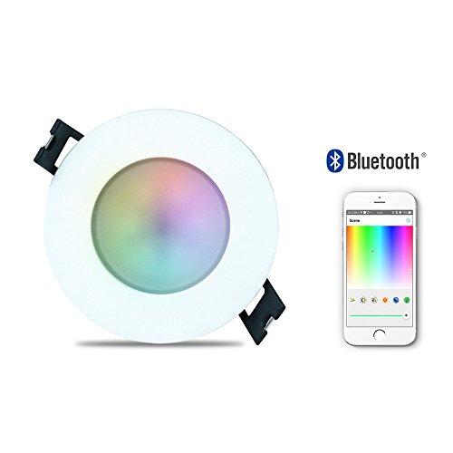 iHomma IP65 LED Einbaustrahler 6W RGBWW 400 Lumen Wasserdicht Einbauleuchten Smart WiFi / Bluetooth / IR Deckenstrahler 16 Millionen Farbe Dimmbar via Smartphone APP und Infrarot-Fernbedienung 220V (3xBluetooth RGBWW)